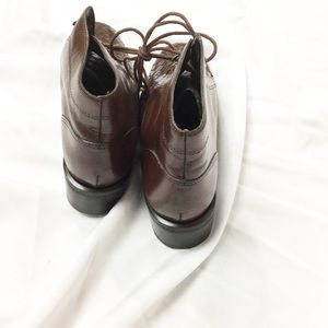 Vintage Shoes - Vintage Brown Woven Leather Lace Up Boots
